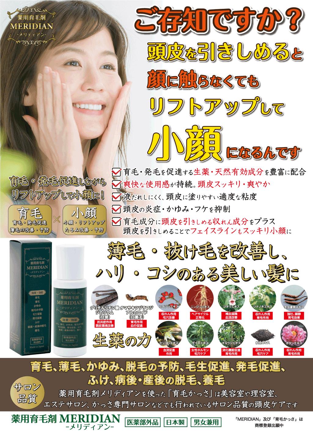 育毛かっさ用の薬用育毛剤メリディアン(医薬部外品)