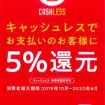キャッシュレス・消費者還元事業の5%還元について
